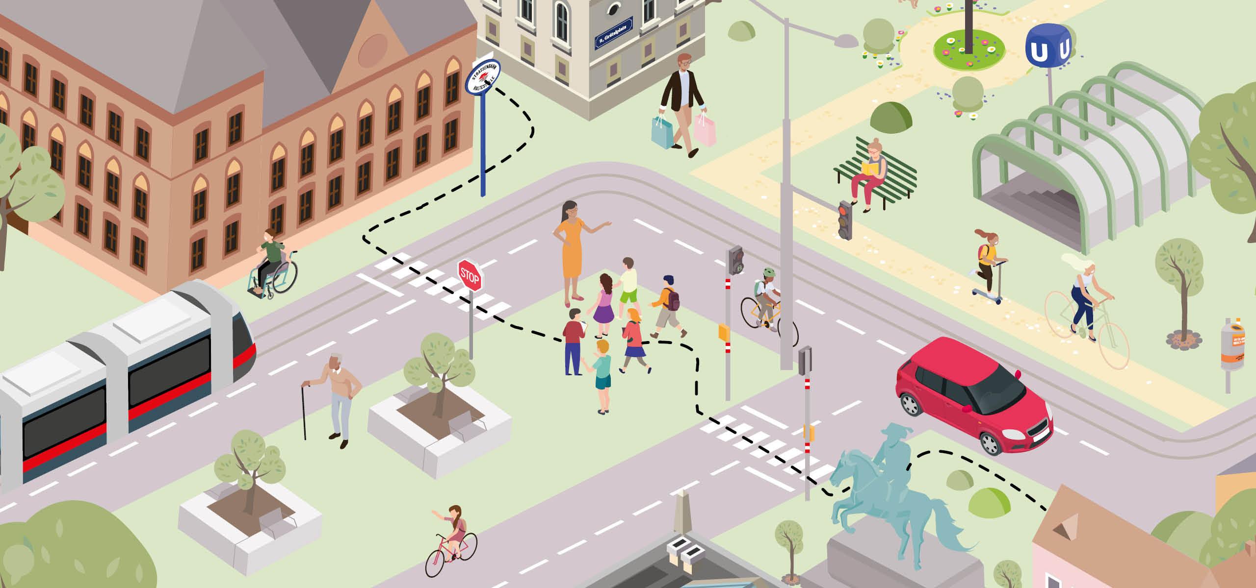 Die Grafik illustriert das praxisnahe Mobilitätsbildungsprogramm im Verkehrsraum