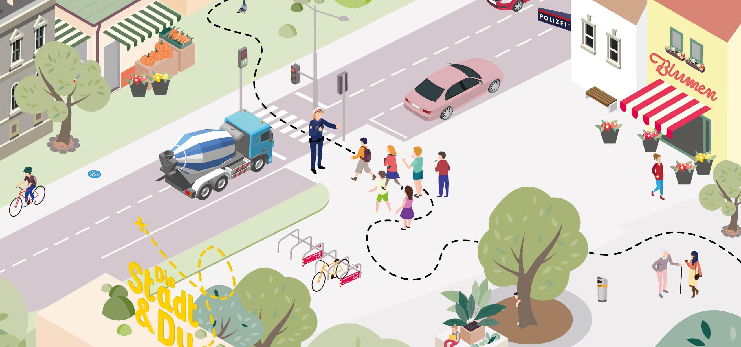 Schulworkshop mit einem Polizisten im Verkehrsraum